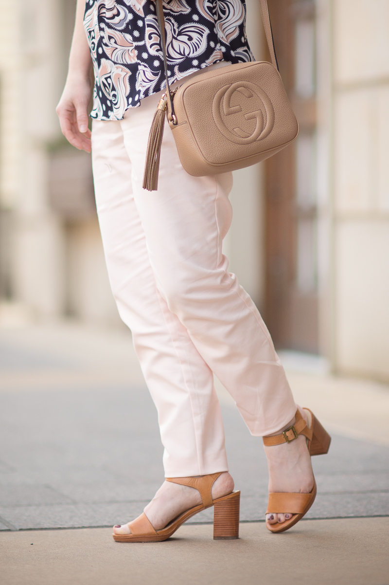 Petite Fashion and Style Blog | Ann Taylor Floral Cutout Ruffle Shell | Maison Jules Ankle Pants | gucci Soho Disco Bag