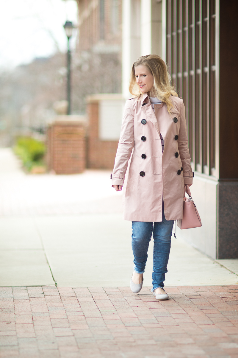 Petite Fashion and Style Blog | Burberry Sandringham Trench Coat | Club Monaco Mackenzie Striped Sweater | AG The Legging Ankle Jeans | Chloe Lauren Flats | Click to Read More...