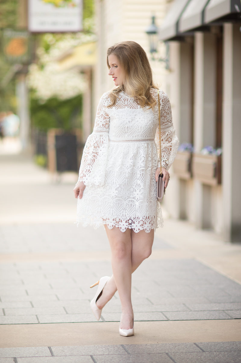 Petite Fashion and Style Blog   Chicwish Floral Rhapsody Crochet Dress in White   YSL Wallet on Chain   Click to Read More...