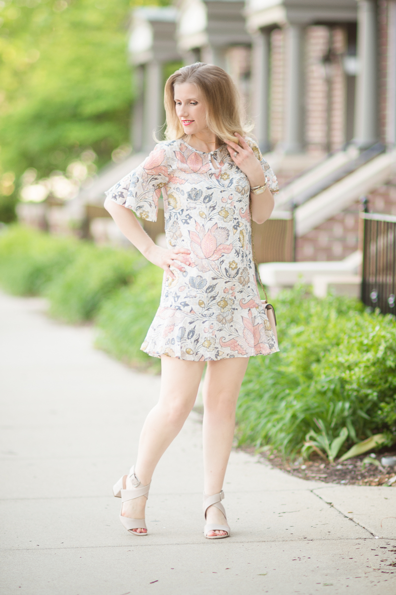Petite Fashion and Style Blog | Loft Shimmer Floral Flounce Dress | Via Spiga Carson Sandals | Click to Read More...