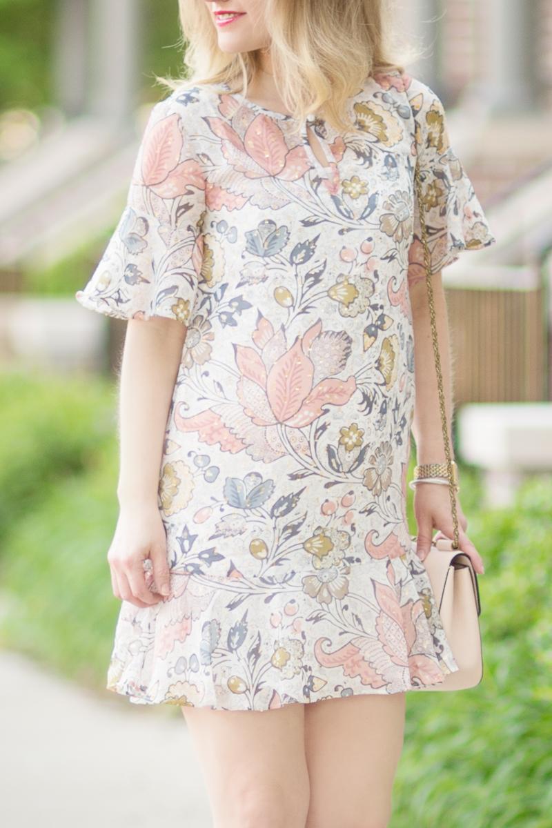 Petite Fashion And Style Blog Loft Shimmer Floral Flounce Dress 9 The Blue Hydrangeas