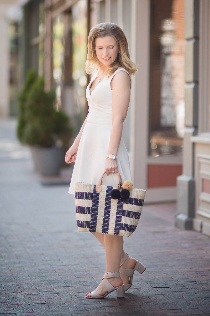 Petite Fashion and Style Blog | Love...Ady | Scalloped V-Neck Mini Fit & Flare Dress | Mar Y Sol Collins Woven Tote | Via Spiga 'Carson' Sandal | Click to Read More...