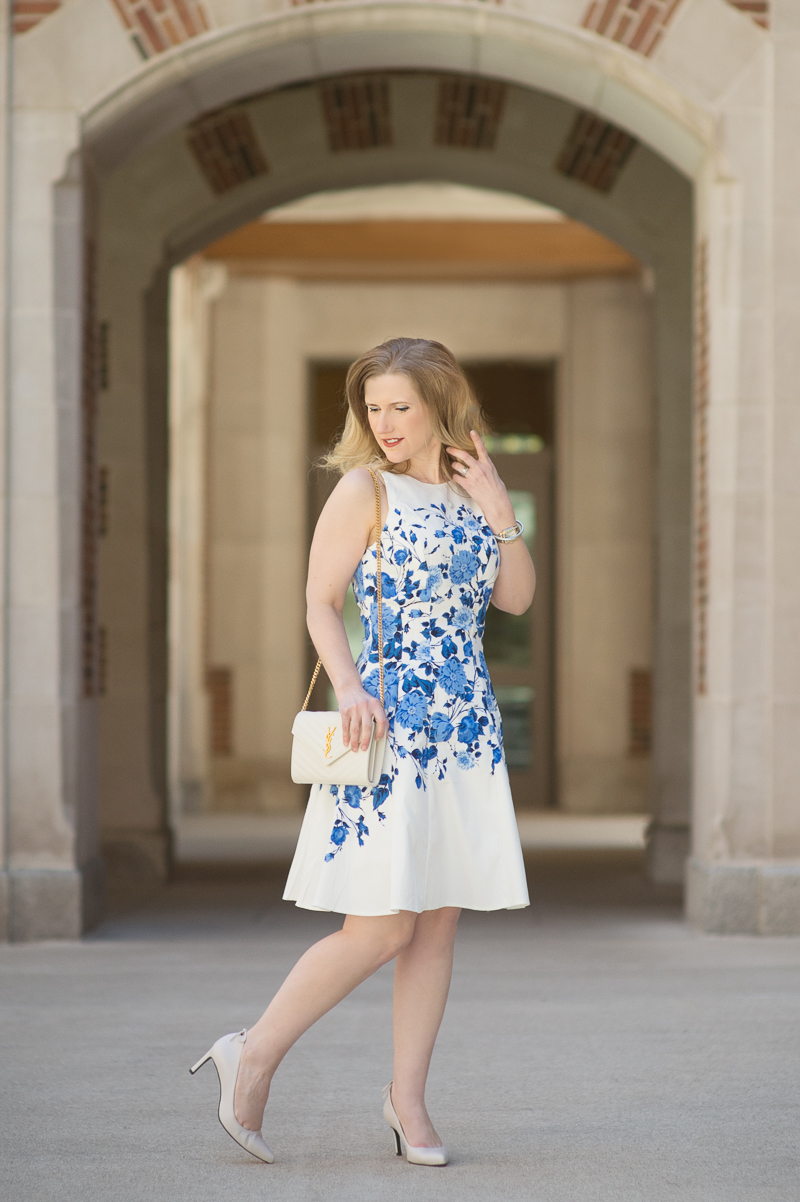 Petite Fashion and Style Blog | Maggy London Marlene Fit and Flare Dress | Stuart Weitzman Peekamid Pumps | YSL Wallet on Chain | Click to Read More...
