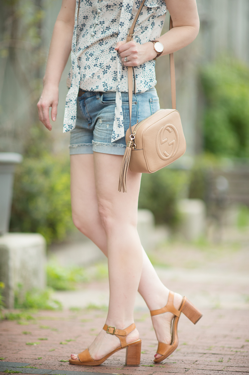 Petite Fashion And Style Blog Sts Blue Boyfriend Shorts Abercrombie Fitch Ruffle Sleeve
