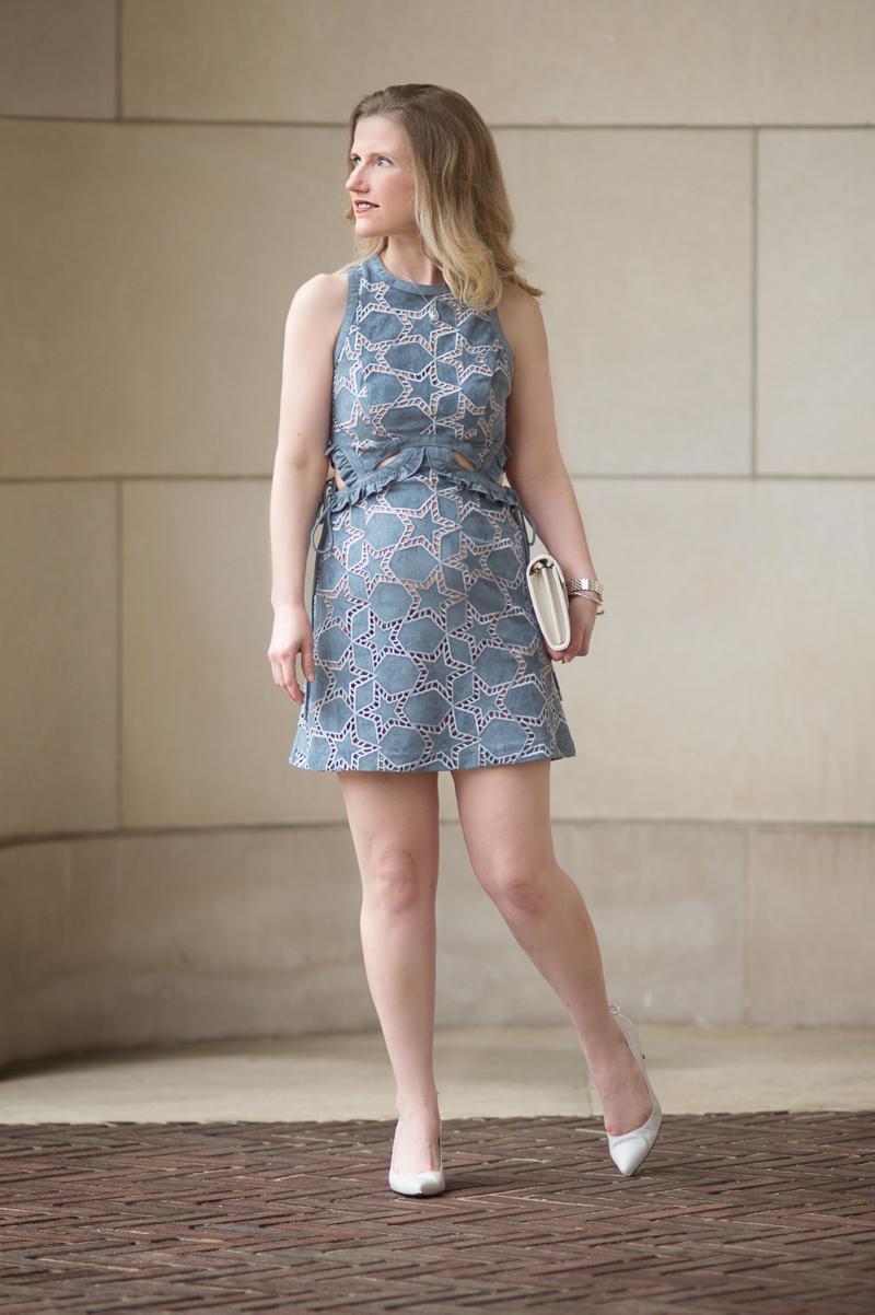 Petite Fashion and Style Blog | Self Portrait Cutwork Star Suede Mini Dress | Stuart Weitzman Peekamid Pumps | Click to Read More...