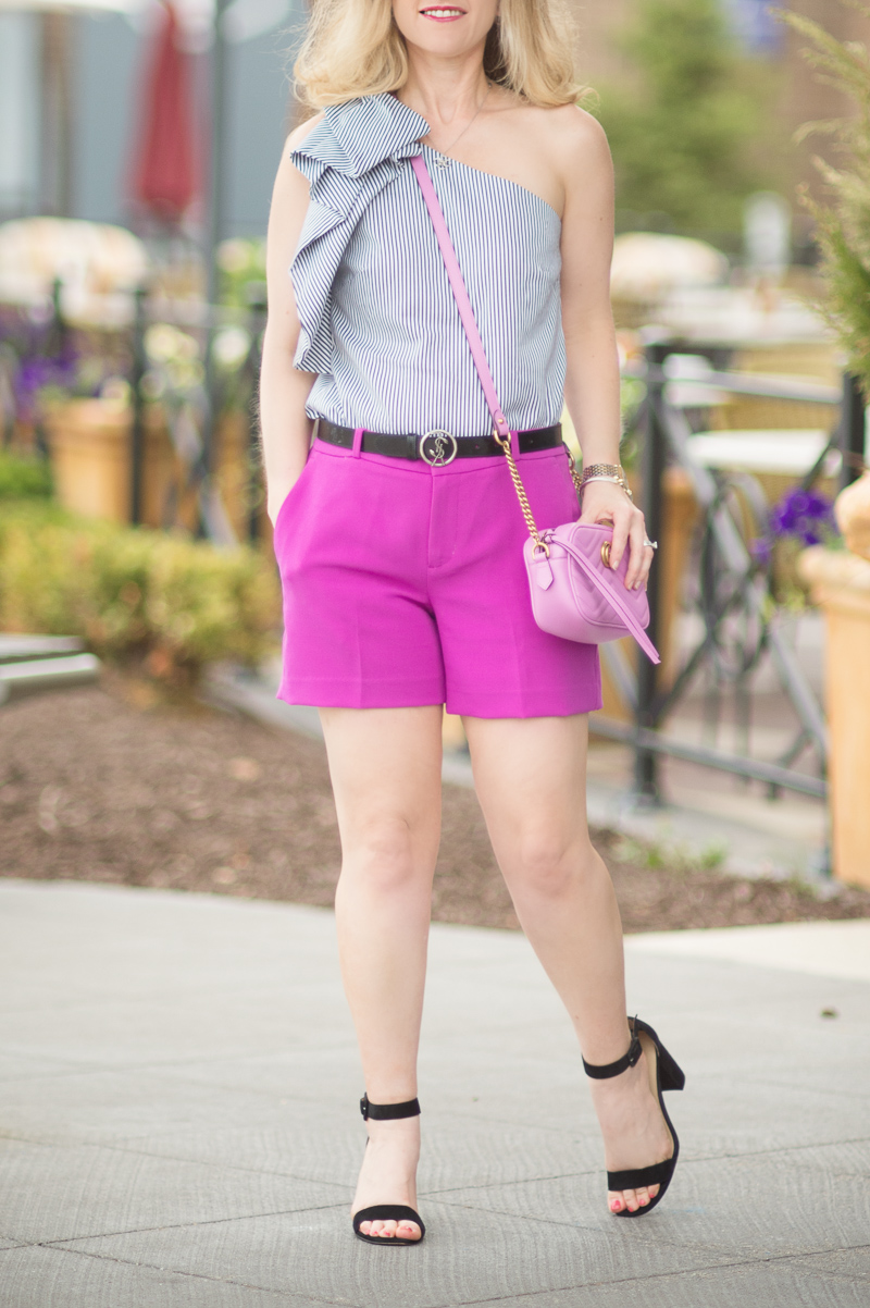Petite Fashion and Style Blog | Banana Republic One Shoulder Bow Top | Banana Republic Ryan Fit Solid Shorts | Gucci Marmont Mini Bag | YSL Serpent Belt | Ann Taylor Leda Block Heel Sandals | Click to Read More...