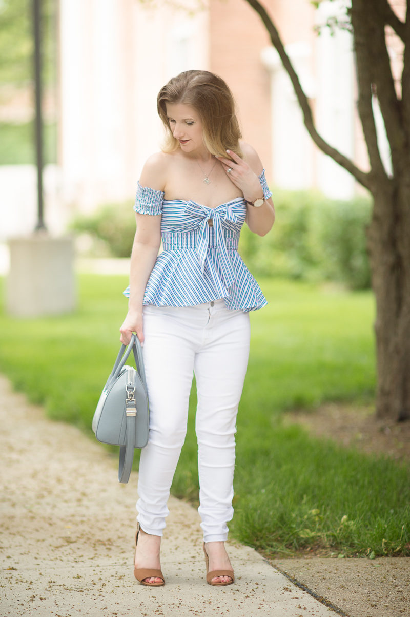 Petite Fashion and Style Blog | Bebe Striped Off the Shoulder Top | Hudson Mid Rise Crop Skinny Ankle Jeans | Givenchy Antogona Bag | Steve Madden Gerard Block Heel Sandal | Click to Read More...