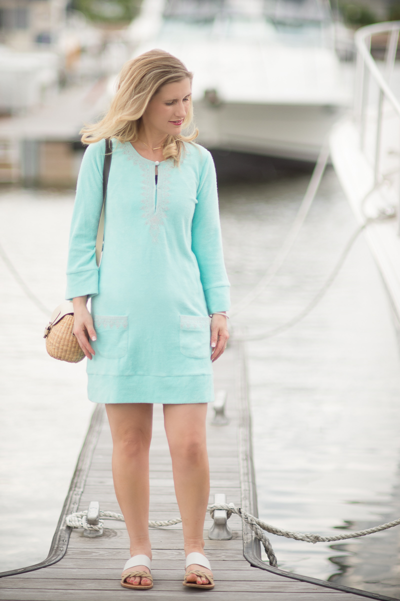 Petite Fashion and Style Blog | Cabana Life Embroidered Terry Tunic | Sea and Grass Straw Mini Bag Basket | Soludos Two-Tone Braided Slide Sandals | Click to Read More...