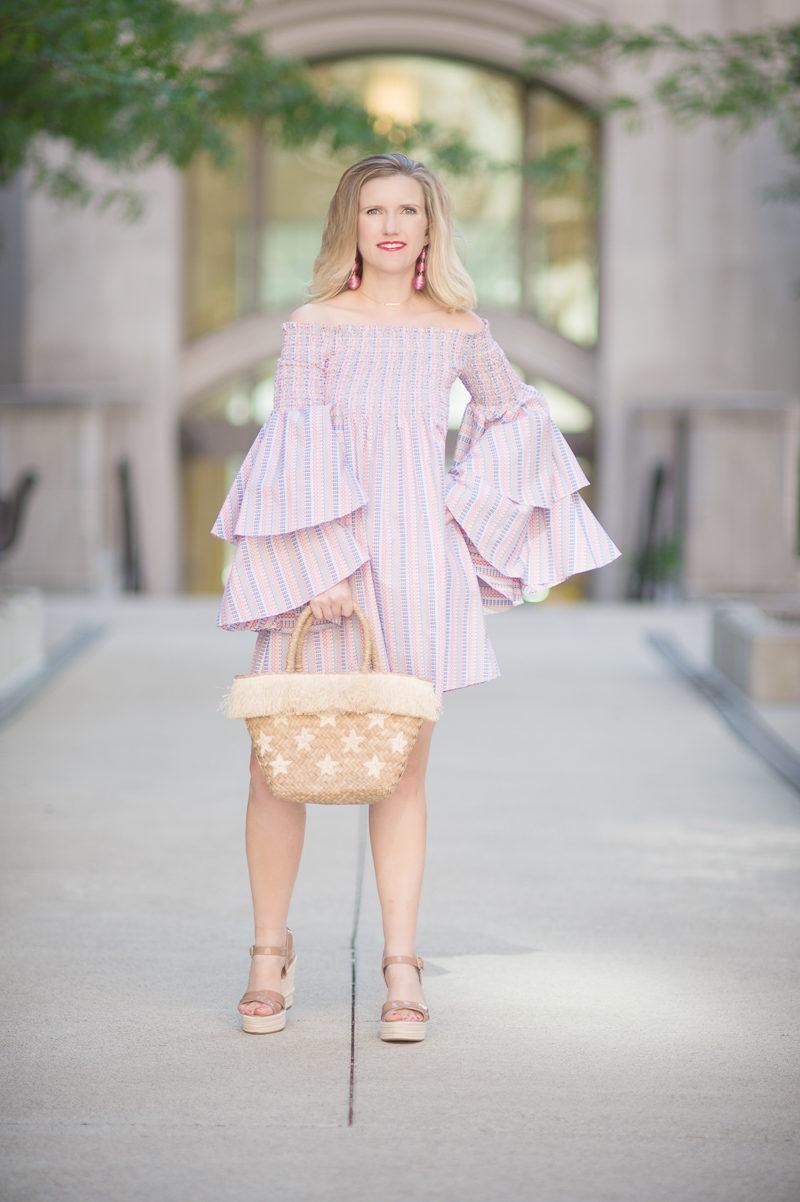 Petite Fashion and Style Blog | Caroline Constas-Appolonia Off-the-Shoulder Mini Dress | Kayu Stellar Tote | Sergio Rossi Maui Platform Wedge Sandals | Click to Read More...