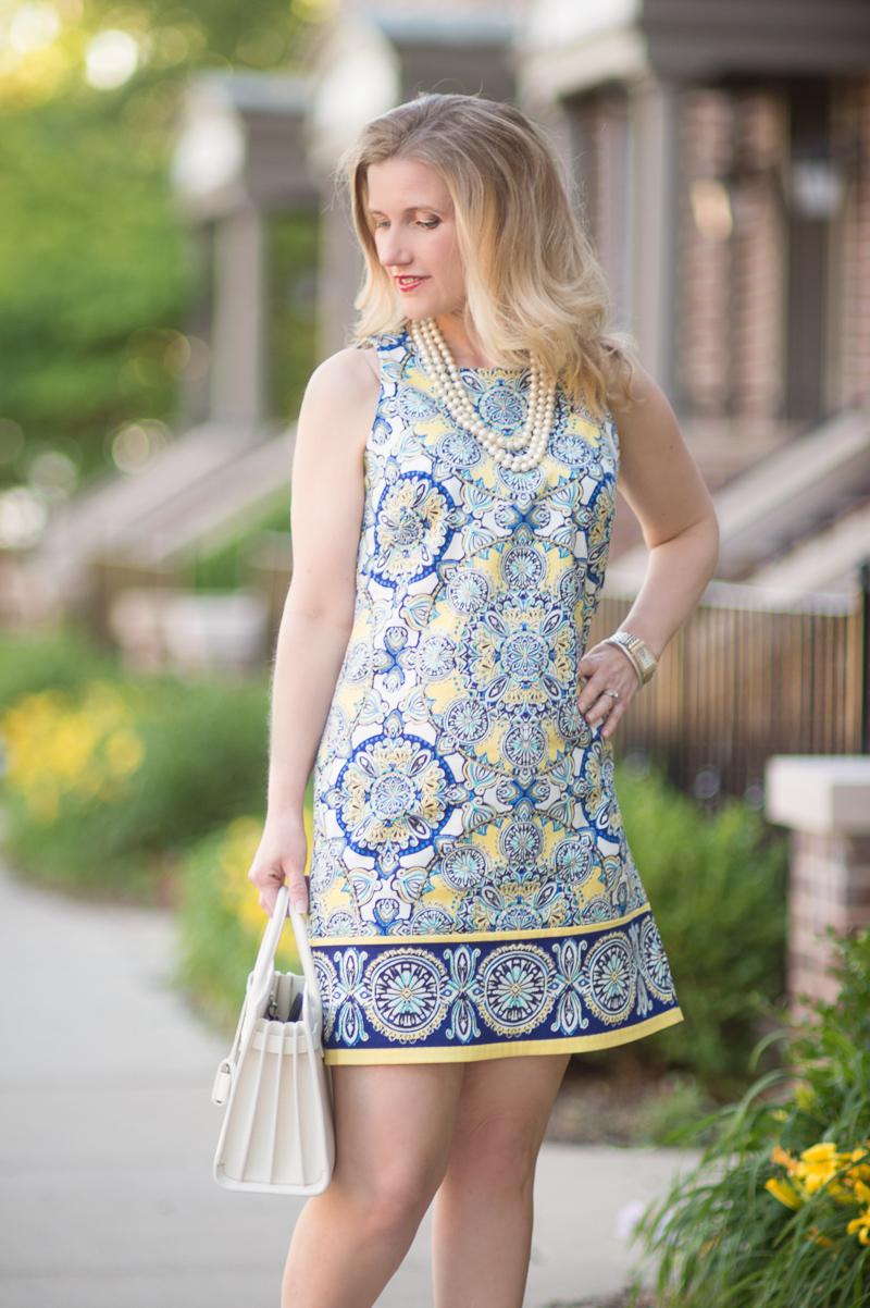 Petite Fashion and Style Blog | Londin Times Yellow Cotton Petite Shift Dress