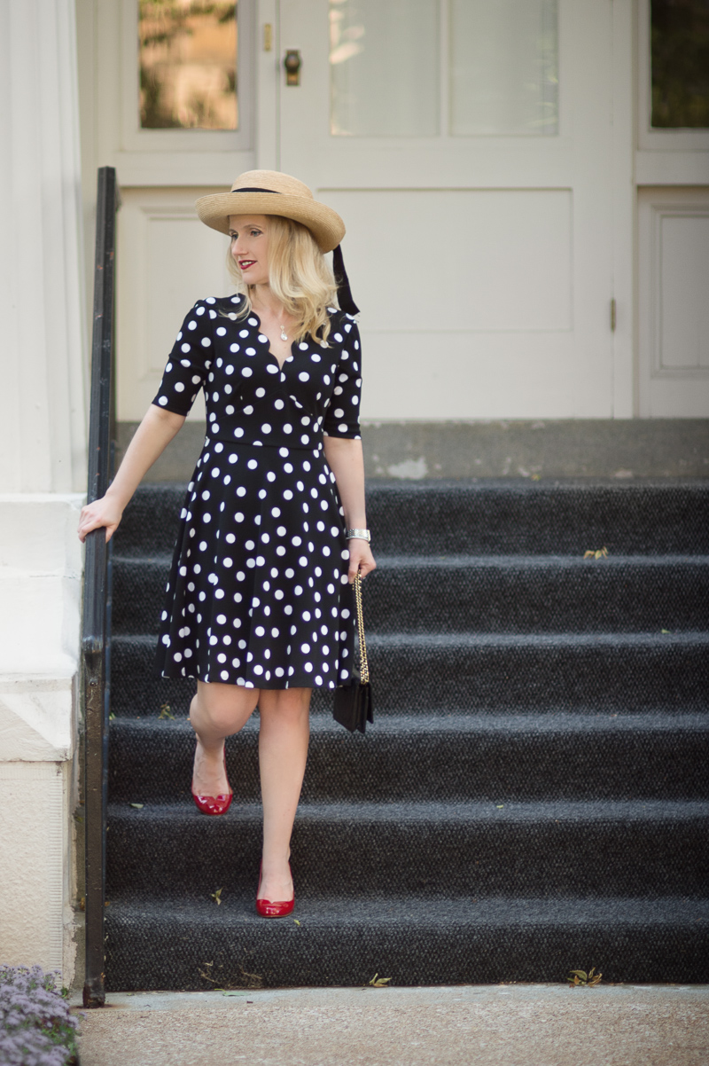 etite Fashion and Style Blog | Londin Times Abigail Petite Fit and Flare Dress | Christian Louboutin Heels | Chanel WOC