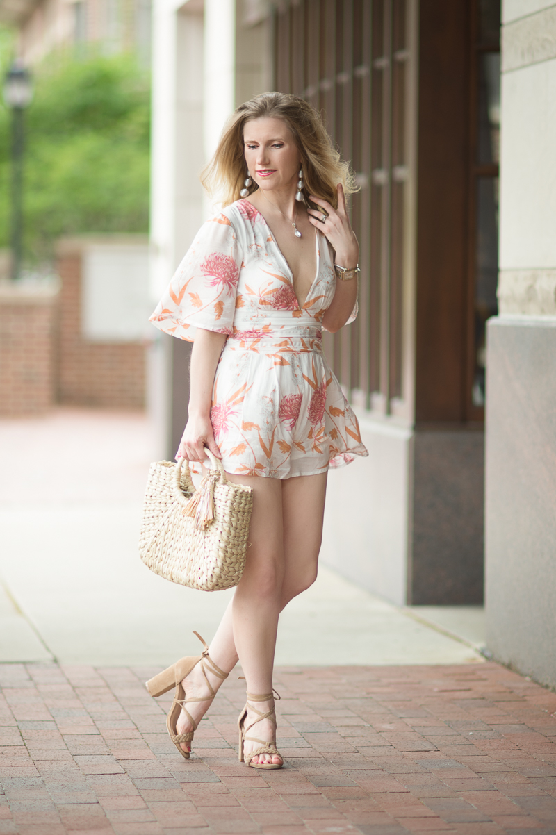 Petite Fashion and Style Blog | Minkpink Daydreamer Kimono Playsuit | Hat Attack Small Round Handle Tote | Raye Lulu Heel in Tan | Click to Read More...