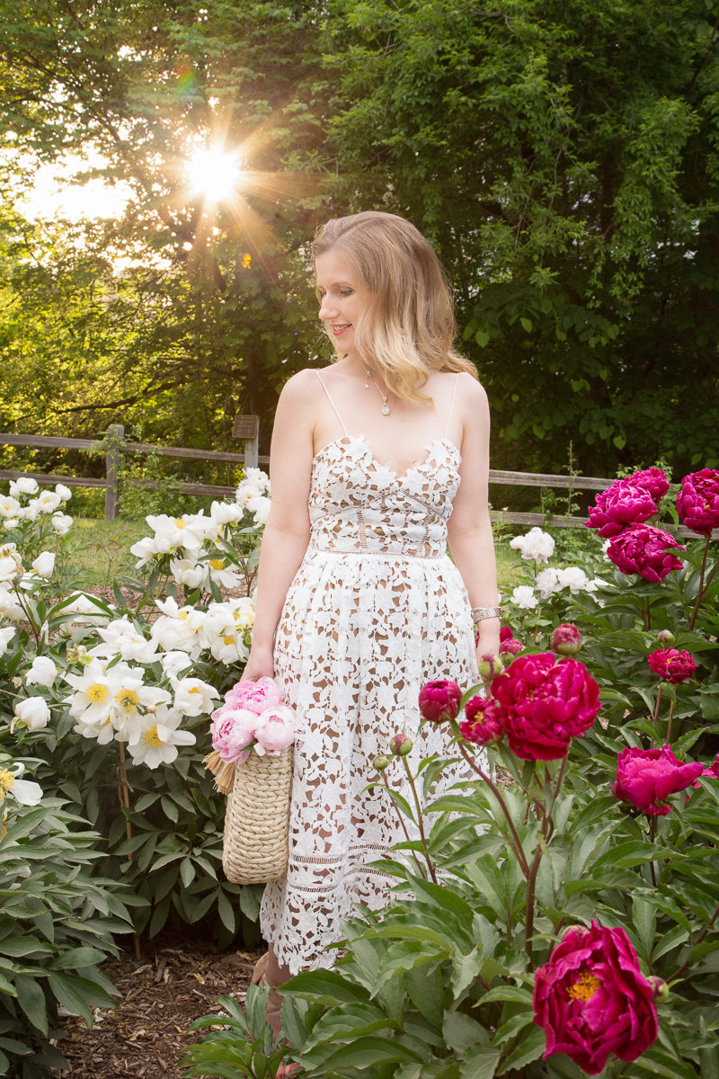 Petite Fashion and Style Blog | Nichols Arboretum Peony Garden | Self Portrait Azalea Dress | Hat Attack Round Handle Tote | Click to Read More...