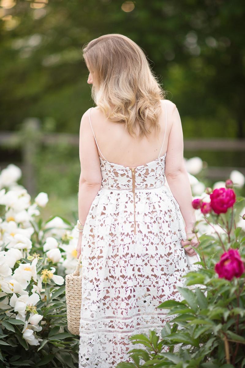 Petite Fashion and Style Blog | Nichols Arboretum Peony Garden | Self Portrait Azalea Dress | Hat Attack Round Handle Tote | Click to Read More...