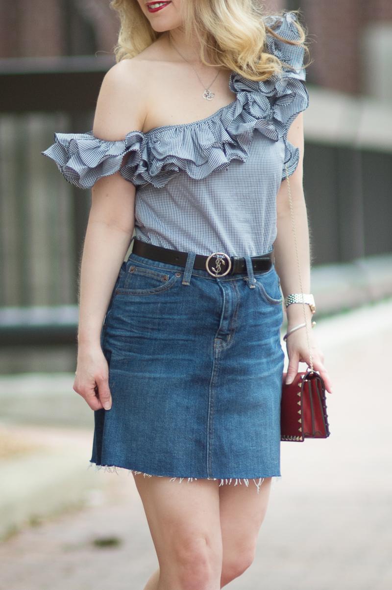 91a50e7f75 Petite Fashion and Style Blog | Petersyn Arabella Ruffle One Shoulder Top |  J. Crew