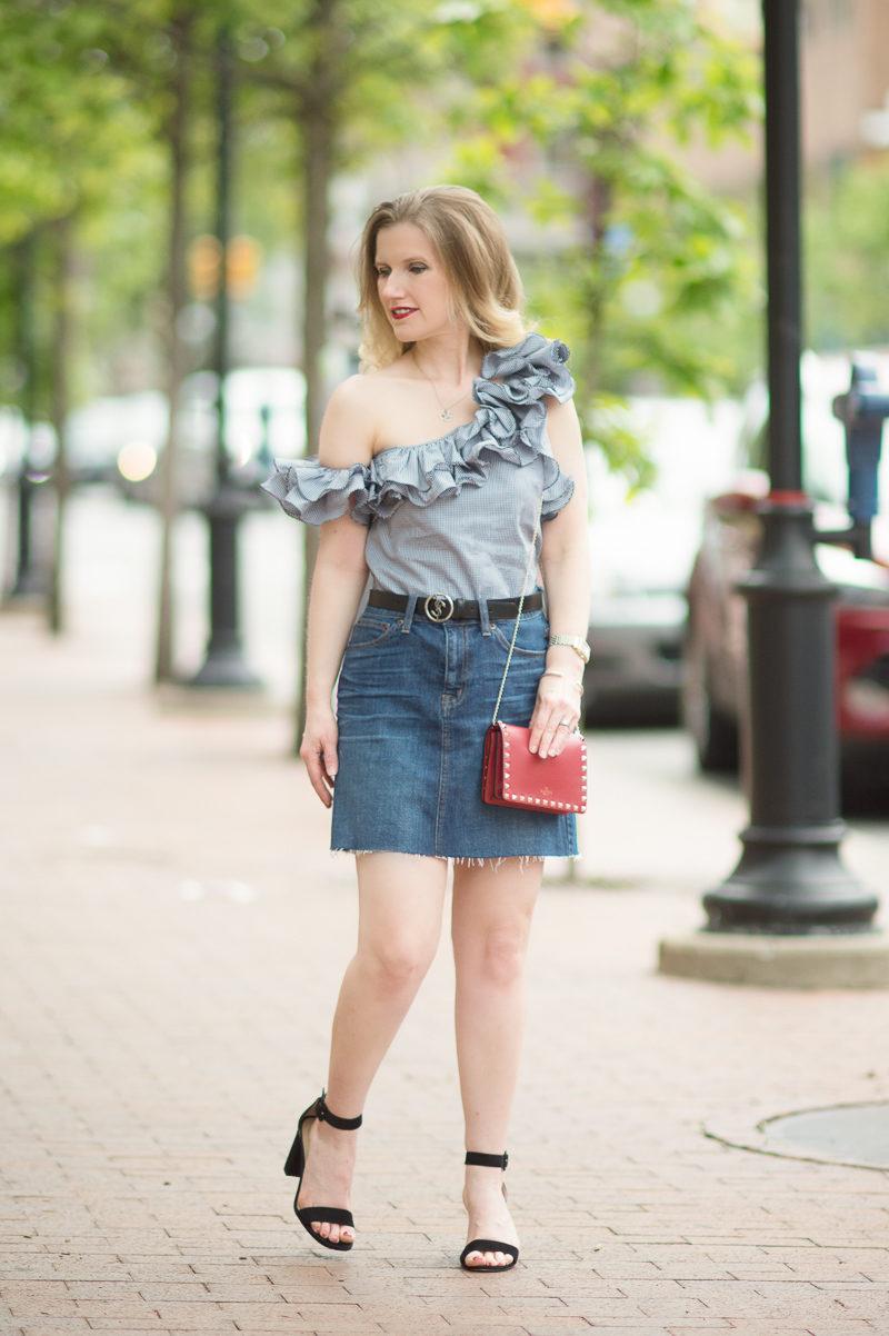 Petite Fashion and Style Blog | Petersyn Arabella Ruffle One Shoulder Top | J. Crew Denim Skirt with Raw Hem | Ann Taylor Leda Block Heel Sandal | Valentino Rockstud Flap Bag | Click to Read More...