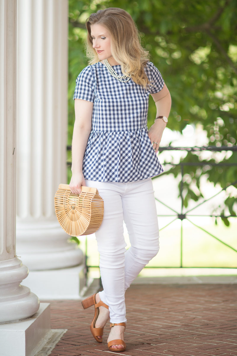 Petite Fashion and Style Blog | Shein Gingham Bow Tie Split Back Peplum Top | Hudson Mid Rise Ankle Skinny Jeans | Cult Gaia Gaia's Ark | Click to Read More...