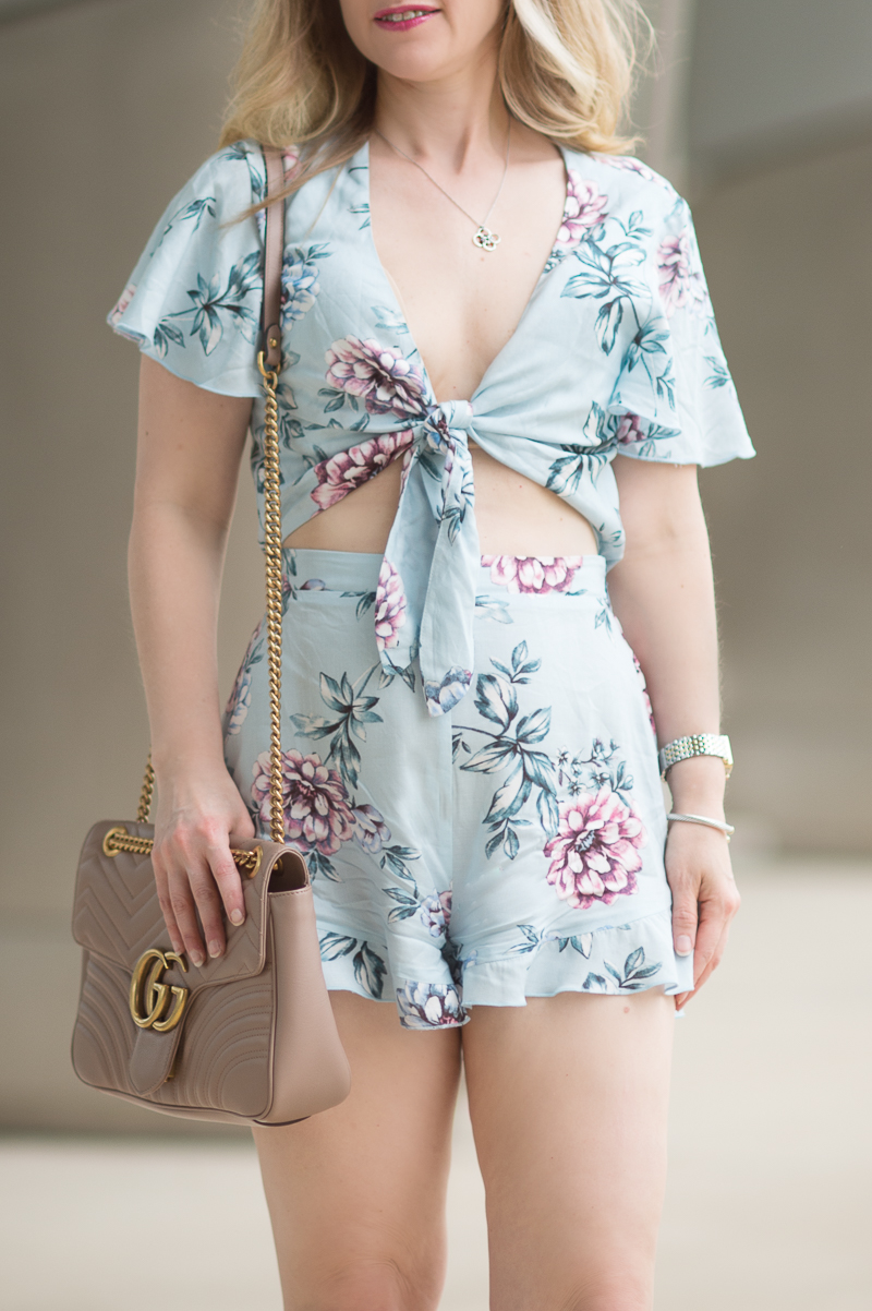 Petite Fashion and Style Blog | Show Me Your MuMu Riveira Romper Wildfire Breeze | Gucci Marmont Matelasse Shoulder Bag | Sergio Rossi Maui Platform Wedge Sandals | Click to Read More...