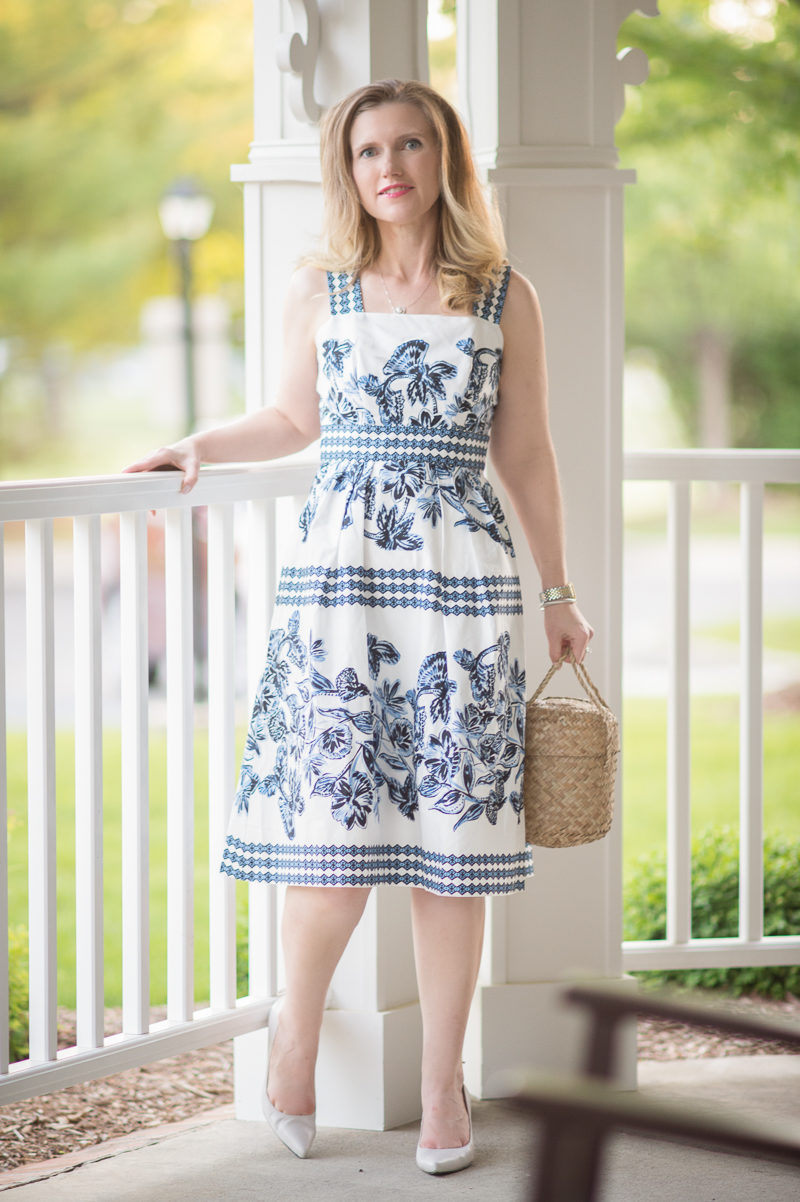 Petite Fashion and Style Blog | Vince Camuto Fit and Flare Dress | Doen Phoebe Bag | Stuart Weitzman Peekamid Pump | Click to Read More...
