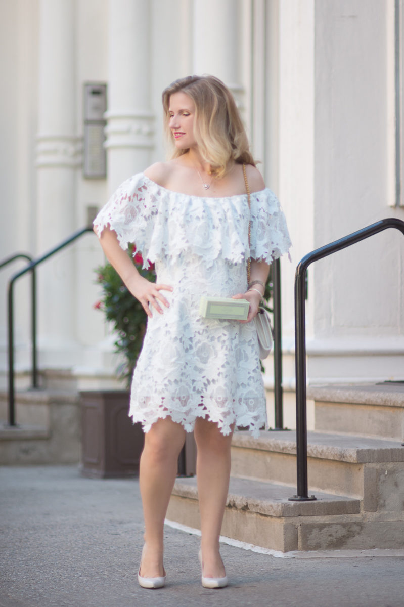Petite Fashion and Style Blog | Chicwish Glorious Blossom Crochet Off-shoulder Dress | Lauder Macarons | Click to Read More....