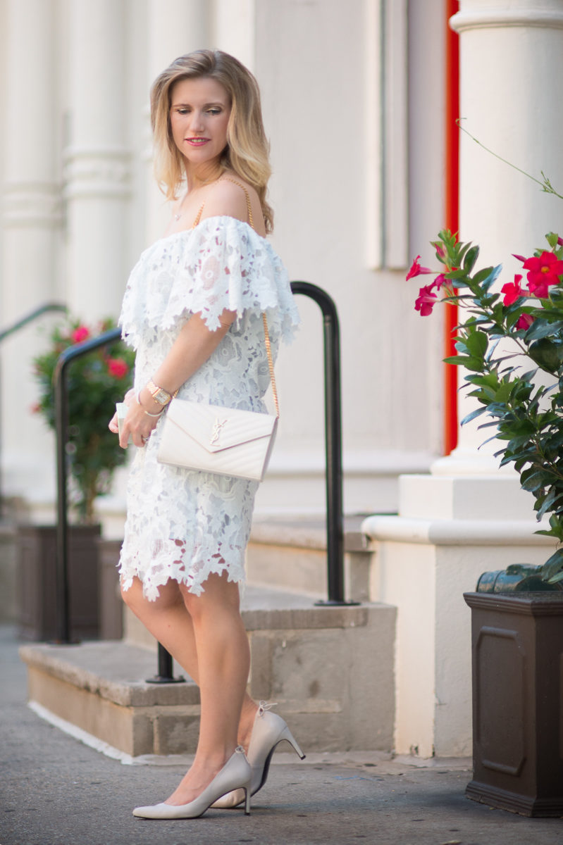 Petite Fashion and Style Blog | Chicwish Glorious Blossom Crochet Off-shoulder Dress | Laudree Macarons