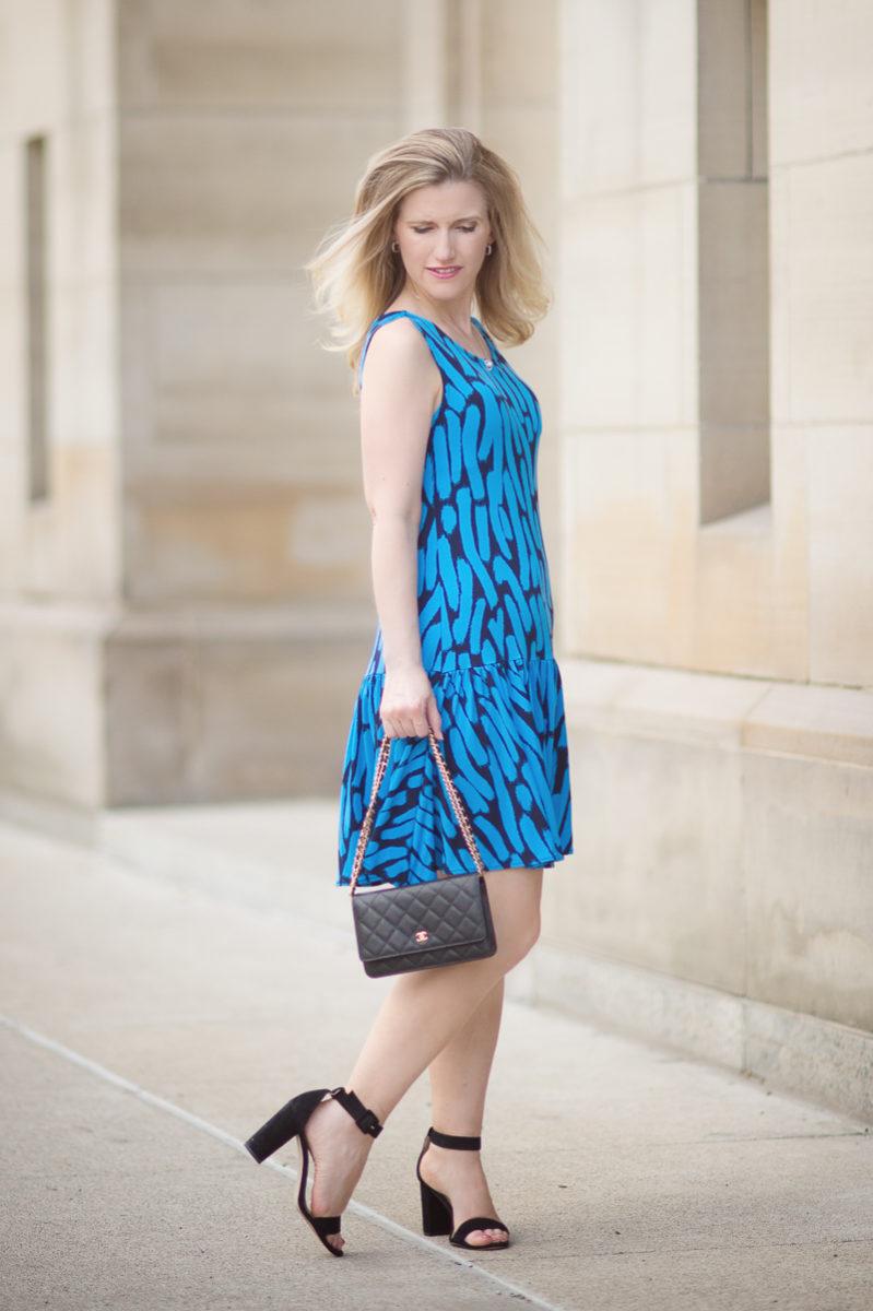 Petite Fashion and Style Blog | Leota Savvy Sleeveless Ruffle Dress in Azure Brushstroke | Click to Read More...