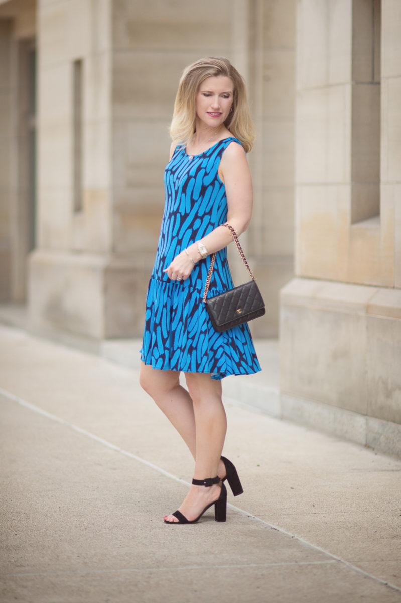 Petite Fashion and Style Blog | Leota Savvy Sleeveless Ruffle Dress in Azure Brushstroke | Click to Read More..
