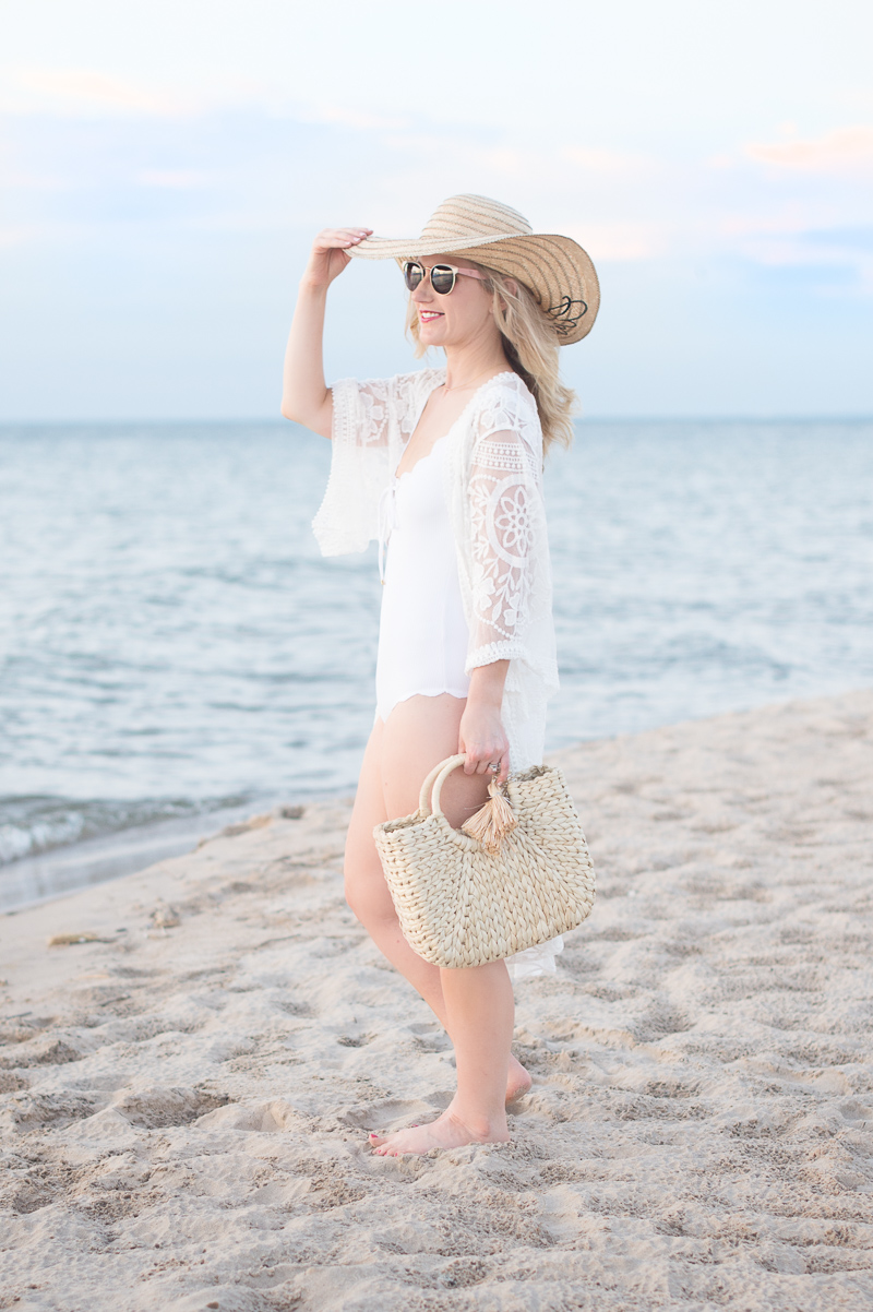 Petite Fashion and Style Blog | Marysia Antibes Scallop One Piece Wide Strap Tank | Jeasona Womens Lace Crochet Cover Up | Click to Read More...