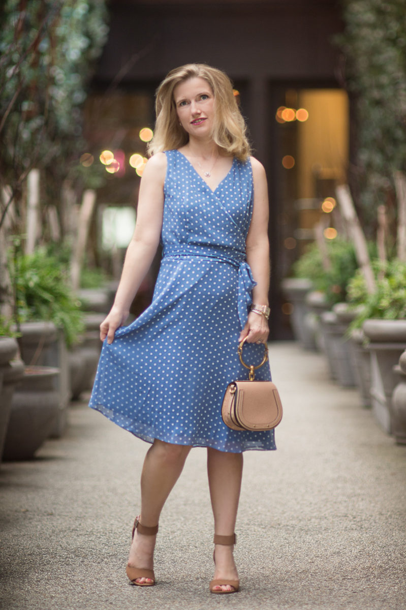Petite Fashion and Style Blog | Modcloth Camera Flash Finesse Wrap Dress in Blue Dots | Chloe Nile Bag | Nomo Soho Hotel | Click to Read More...