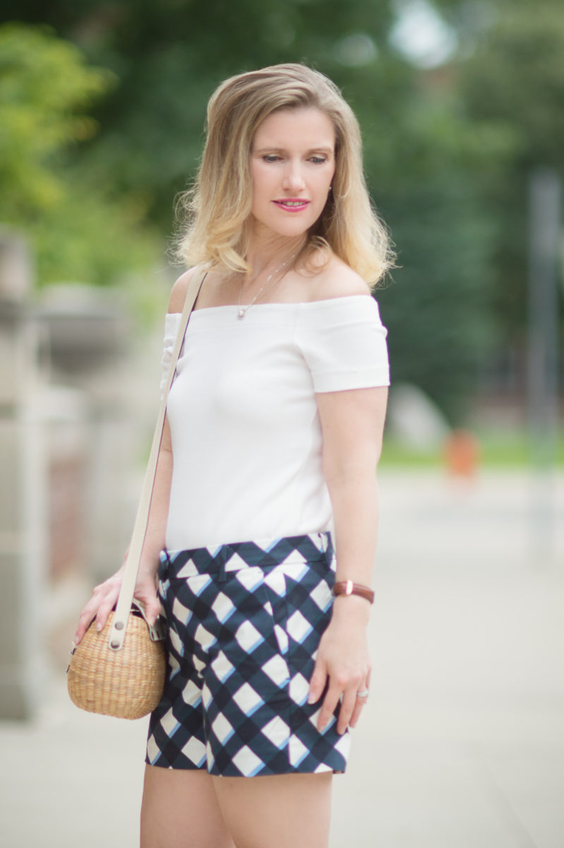 Petite Fashion and Style Blog | Ann Taylor Gingham City Shorts | Ann Taylor Off the Shoulder Top | Sea and Grass Straw Crossbody Purse | Sergio Rossi Platform Sandals