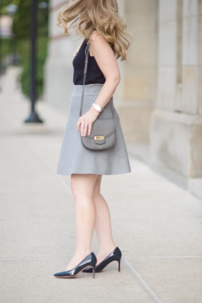 Petite Fashion and Style Blog | Ann Taylor Scallop Trim Sweater Shell | Cole Haan Navy Pumps | Celine Small Trotteur Bag | Click to Read More...