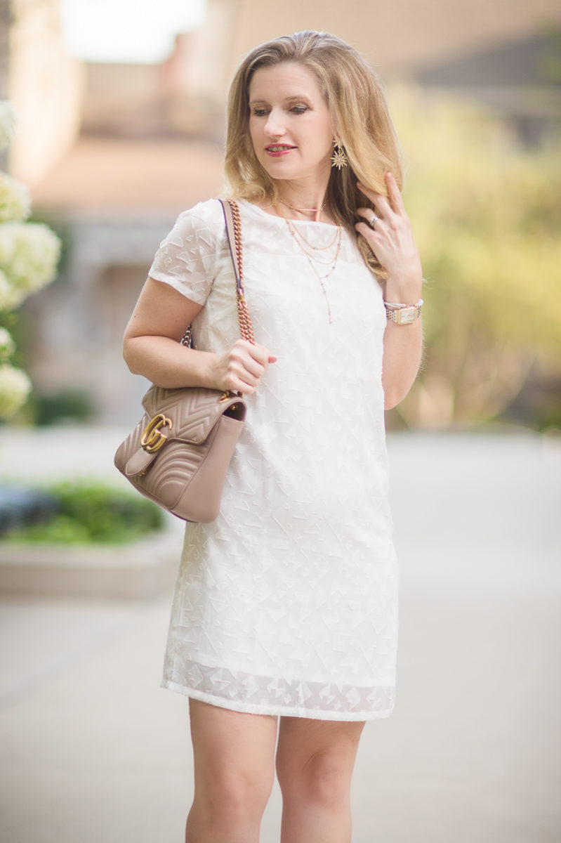 Petite Fashion and Style Blog | Cuddy Studios Drew Dress | Baublebar Celestial Star Earrings | Gucci Marmont Shoulder Bag | Charles David Pact Pump | Click to Read More...