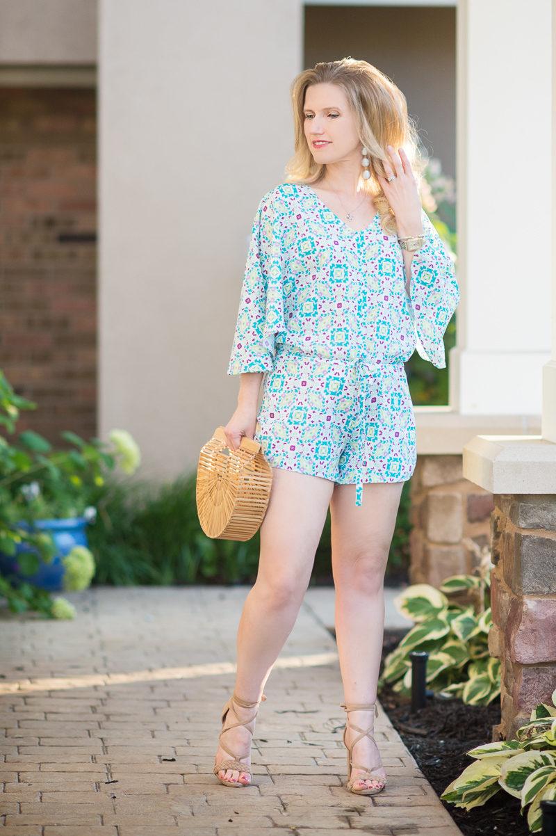 Petite Fashion and Style Blog | Cuddy Studios Zoe Romper | Cult Gaia Gaia's ArK Bag | Raye Lulu Heel | Click to Read More...