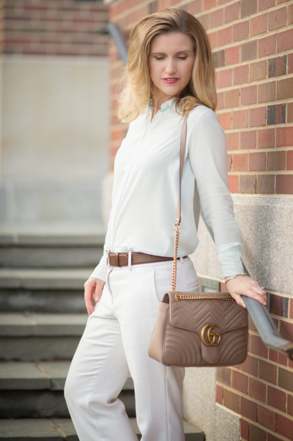 Petite Fashion and Style Blog   Everlane Relaxed Silk Shirt   Ann Taylor Kick Crop Flare Pants   Gucci Marmont Shoulder Bag   Burberry Trench   Click to Read More... - Everlane Relaxed Mint Green Silk Shirt by Michigan popular petite fashion blogger The Blue Hydrangeas