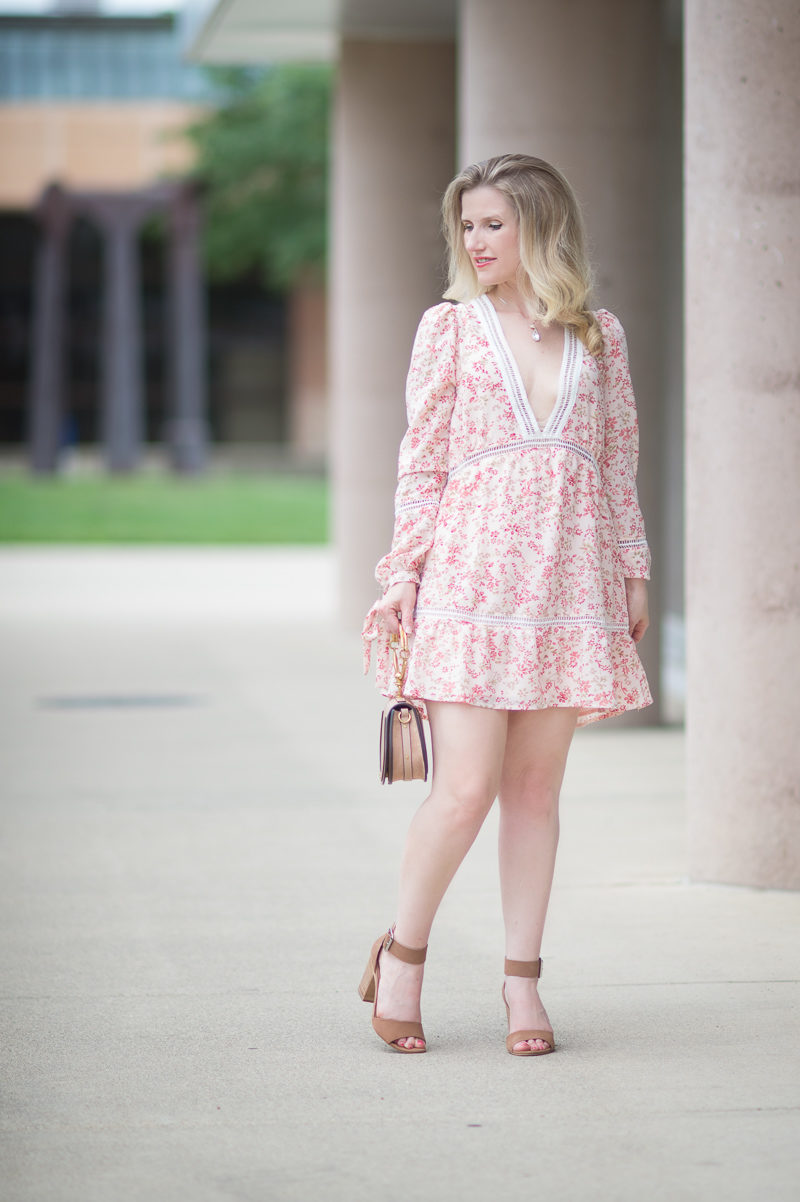 Petite Fashion and Style Blog | For Love and Lemons Sweet Disposition Swing Dress | Choe Drew Bag | Steve Madden Gerard Heels
