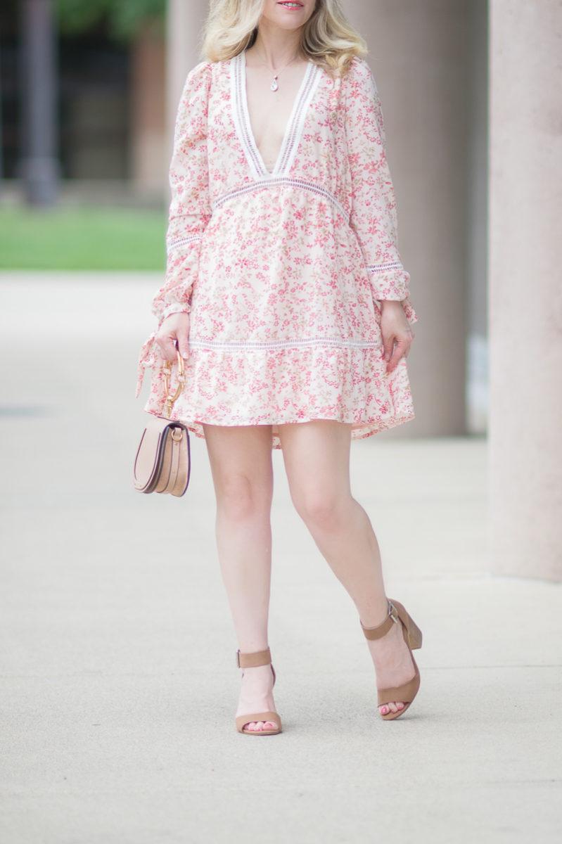 Petite Fashion and Style Blog | For Love and Lemons Sweet Disposition Swing Dress | Chloe Nile Bag | Steve Madden Gerard Heels