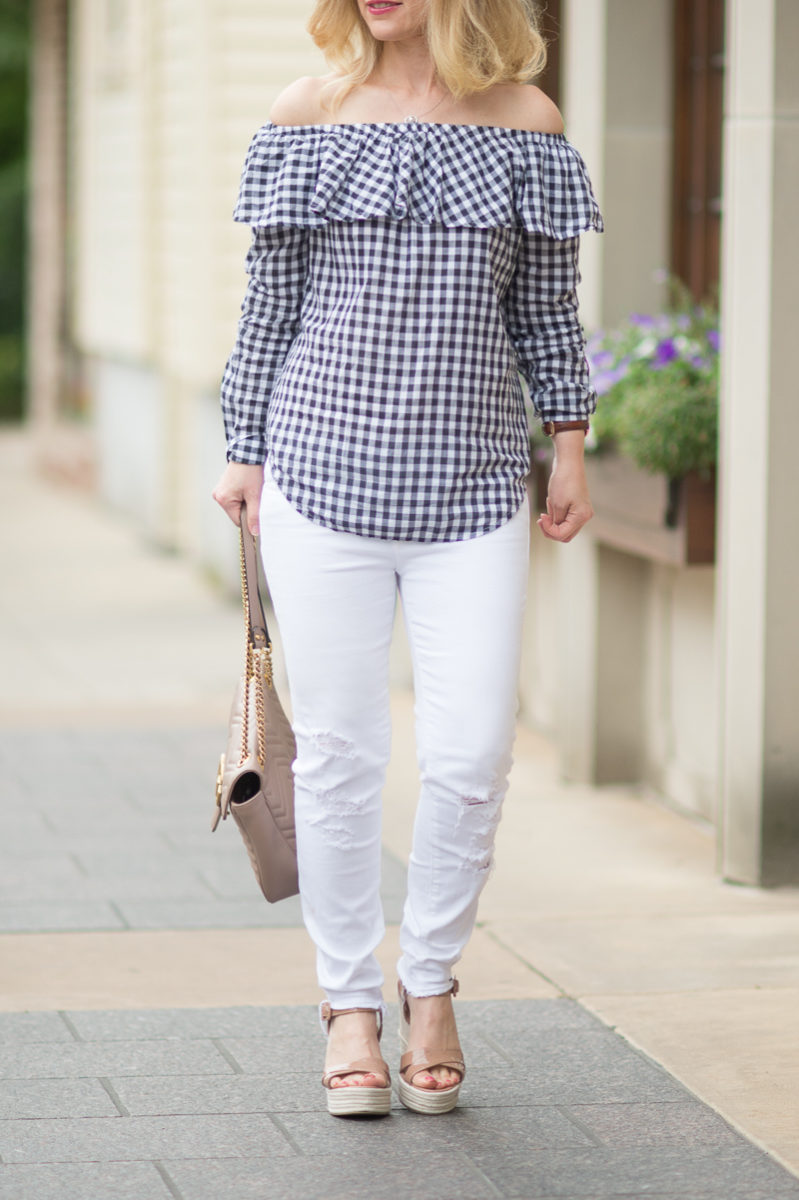 Petite Fashion and Style Blog | Gingham Off the Shoulder Top | J Brand Low Rise Crop Jeans | Sergio Rossi Maui Platform Sandals | Gucci Marmont Bag