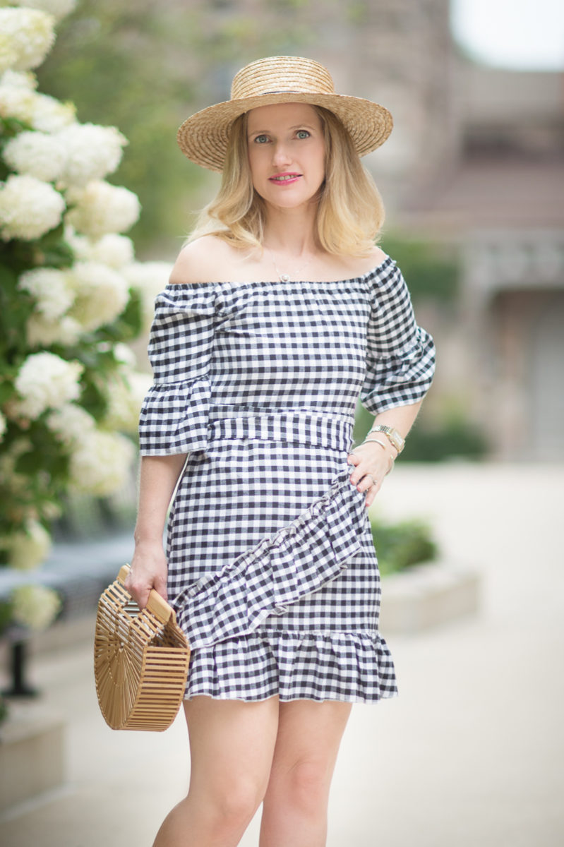 Petite Fashion and Style Blog | Pretty Little Thing Sandy Black Gingham Bardot Dress | Sole Society Straw Boater Hat | Cult Gaia Gaia's Ark Bag | Ann Taylor Leda Heels