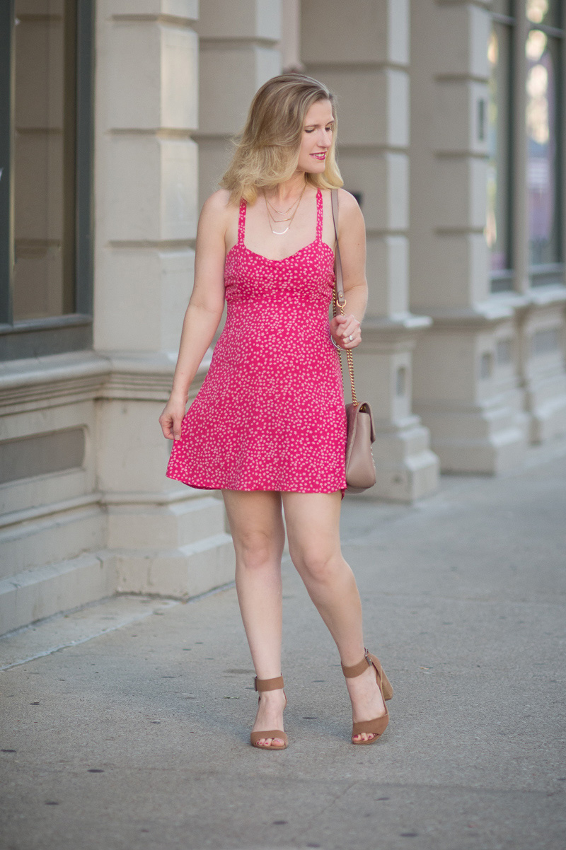 Petite Fashion and Style Blog | For Love and Lemons Pink Star Tank Dress | Baublebar Florentene Drop Earrings | Gucci Marmont Shoulder Bag | Steve Madden Gerard Sandals | Click to Read More...
