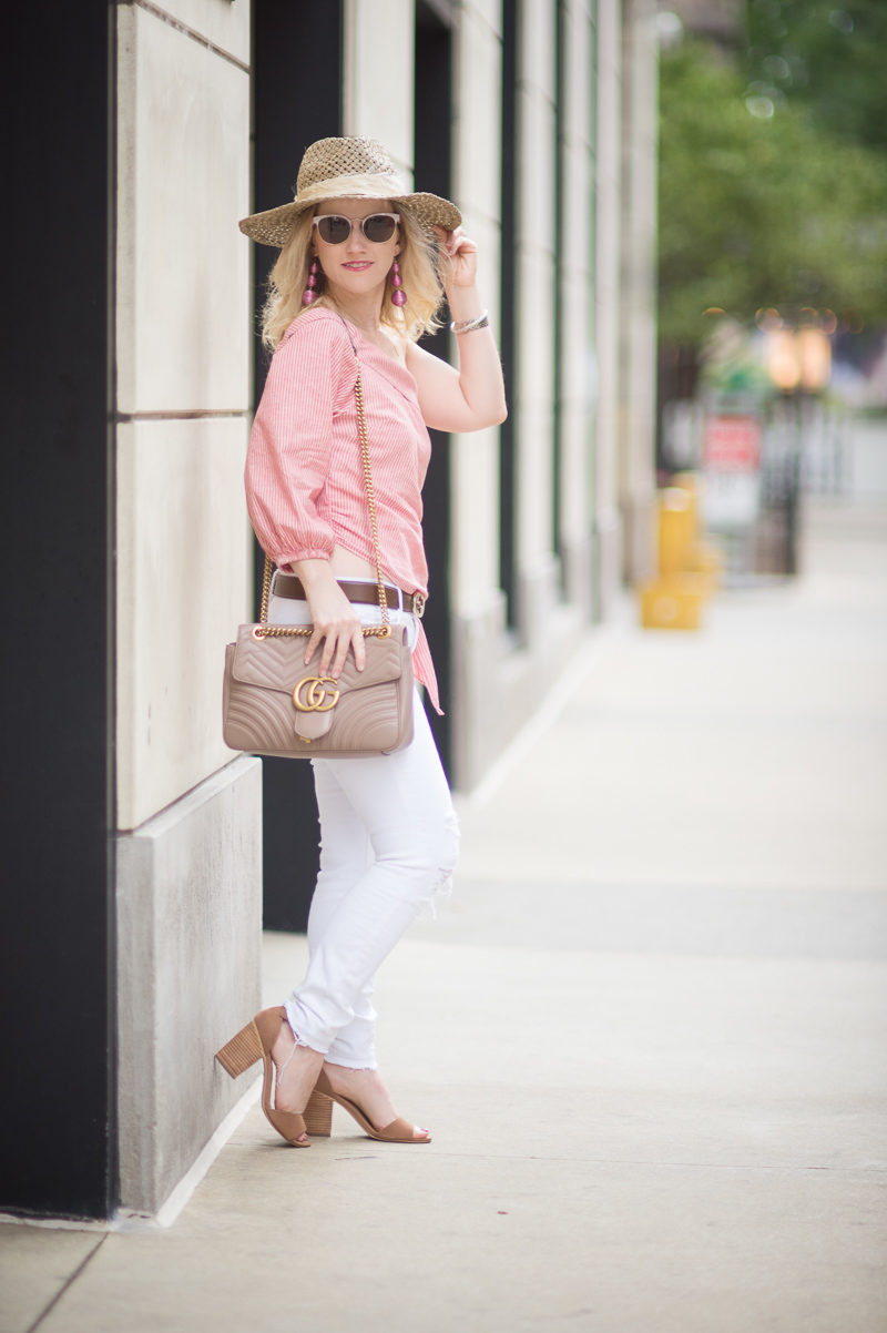Petite Fashion and Style Blog | Free People Get Down One Sleeve Top | J Brand Jeans | Gucci Leather Belt with Interlocking G | Banana Republic Eugenia Kim Willa Hat | Gucci Marmont Shoulder Bag