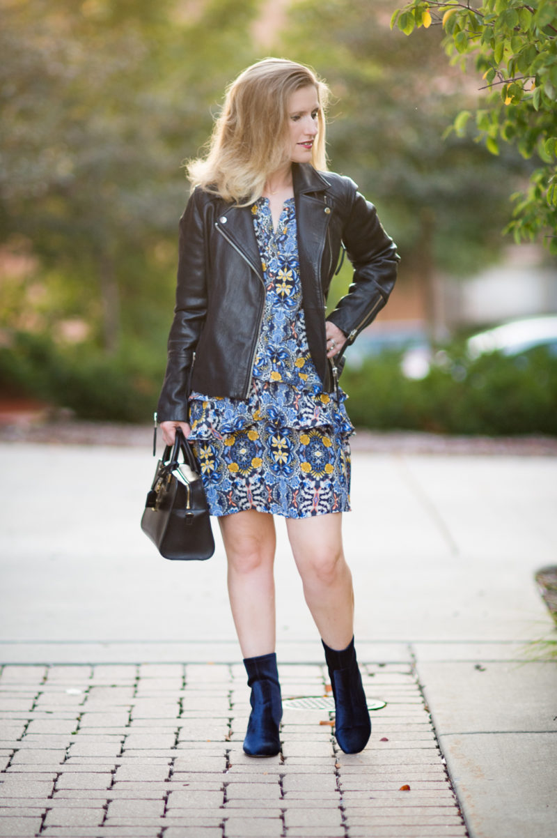 Petite Fashion and Style Blog | Loft Autumn Dream Shirtdress | Black Leather Moto Jacket | Ann Taylor Larissa Velvet Stretch Booties | Click to Read More...