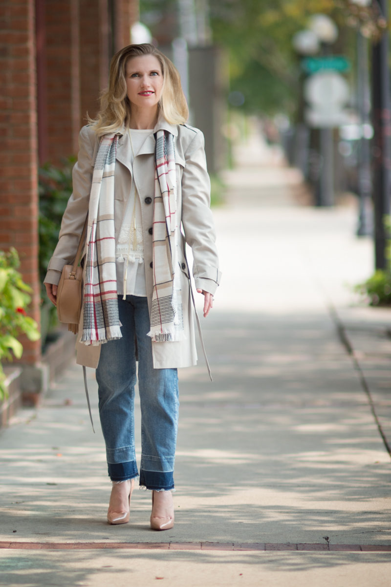 Petite Fashion and Style Blog | Marks and Spencer Stormwear Belted Trench Coat | Marks and Spencer Drop Hem Mid Rise Straight Leg Jeans | Click to Read More...