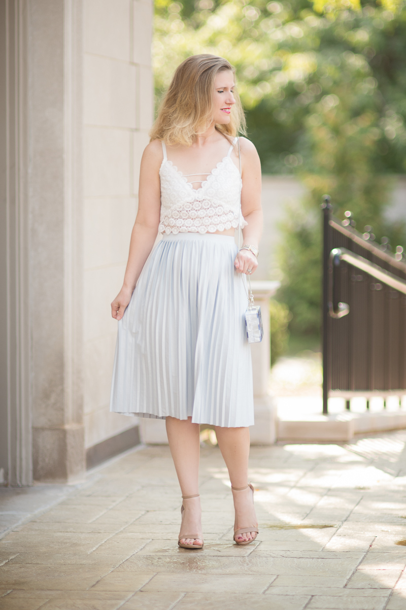 Petite Fashion and Style Blog | Misguided Circle Lace Crop Top | Topshop Pleated Midi Skirt | Milly Acrylic & Glitter Box Clutch | Click to Read More...