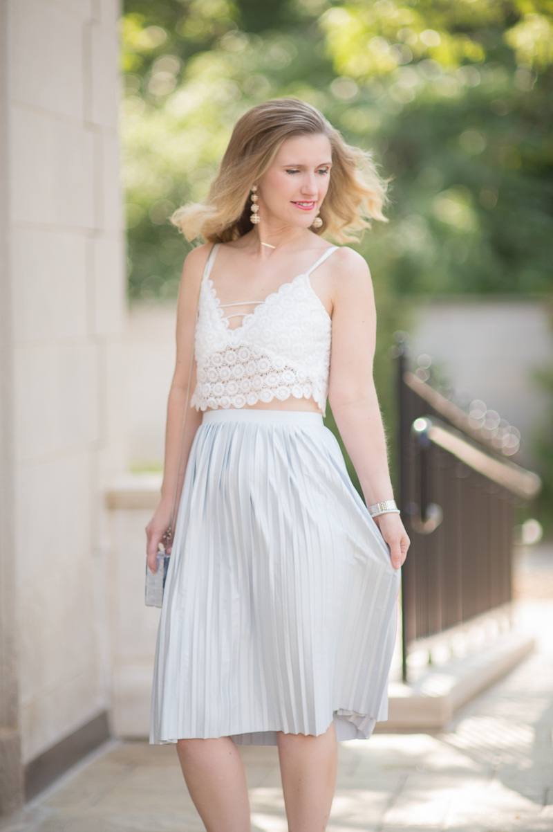 Petite Fashion and Style Blog | Misguided Circle Lace Crop Top | Topshop Pleated Midi Skirt | Milly Acrylic & Glitter Box Clutch