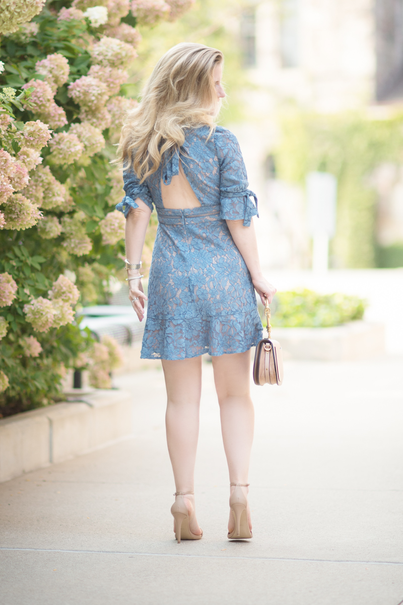 Petite Fashion and Style Blog | Wayf Floral Midi Dress | Chloe Nile Bag | Steve Madden Stecy Sandals | Click to Read More... - Wayf Floral Dress style by popular Michigan petite fashion blogger The Blue Hydrangeas.