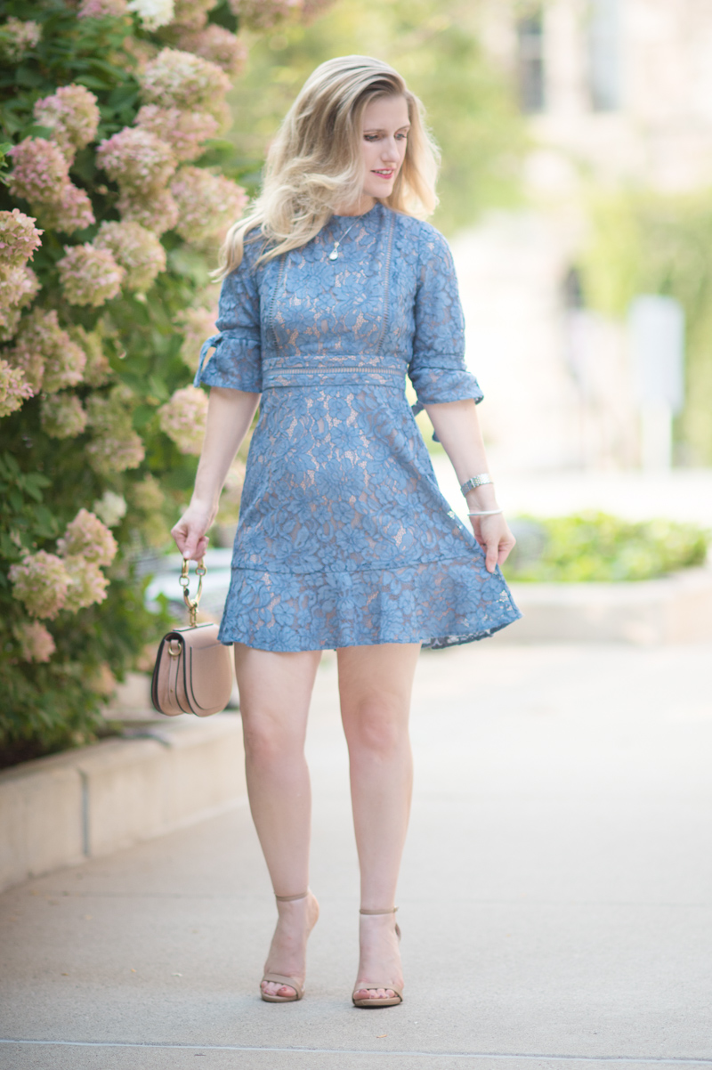 Petite Fashion and Style Blog | Wayf Floral Midi Dress | Chloe Nile Bag | Steve Madden Stecy Sandals | Click to Read More.. - Wayf Floral Dress style by popular Michigan petite fashion blogger The Blue Hydrangeas.