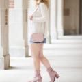 Petite Fashion Blog | Elodie Mock Neck Sweatern | Topshop Denim Mini Skirt | Free People Velvet Cecile Boots