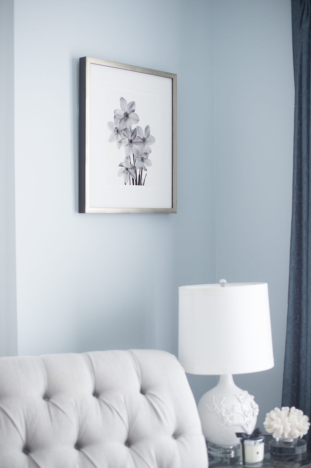 Petite Fashion Blog | Framebridge Custom Framing - Master Bedroom Ideas by popular Michigan style blogger The Blue Hydrangeas