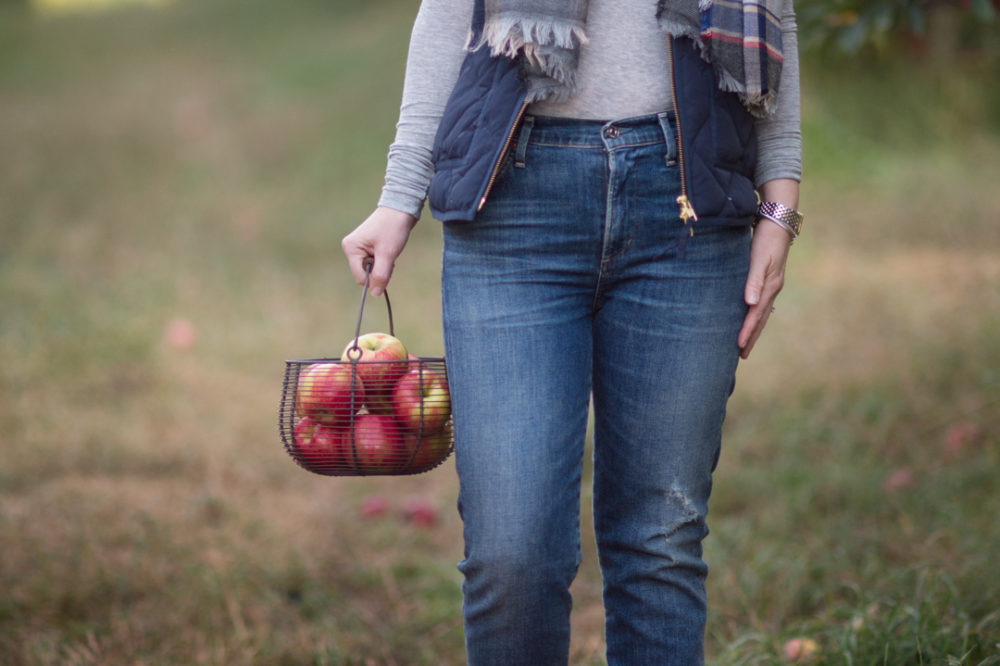 Petite Fashion and Style Blog | BP Plaid Oblong Scarf | J. Crew Factory Quilted Puffer Vest | Citizens of Humanity Cara High-Rise Ankle Jeans | Click to Read More...
