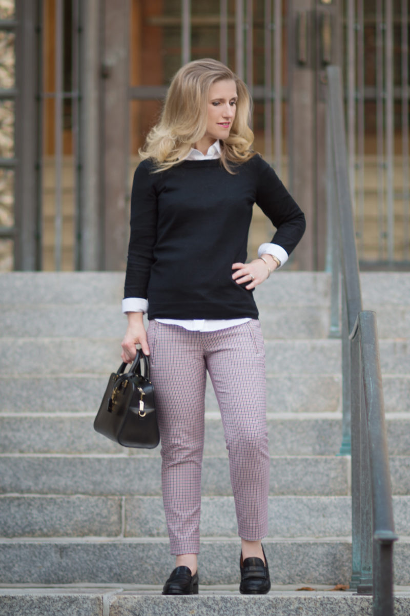 Petite Fashion and Style Blog | Banana Republic Sloan Fit Plaid Pant | J. Crew Tippi Sweater | Madewell Elinor Loafer | Click to Read More...